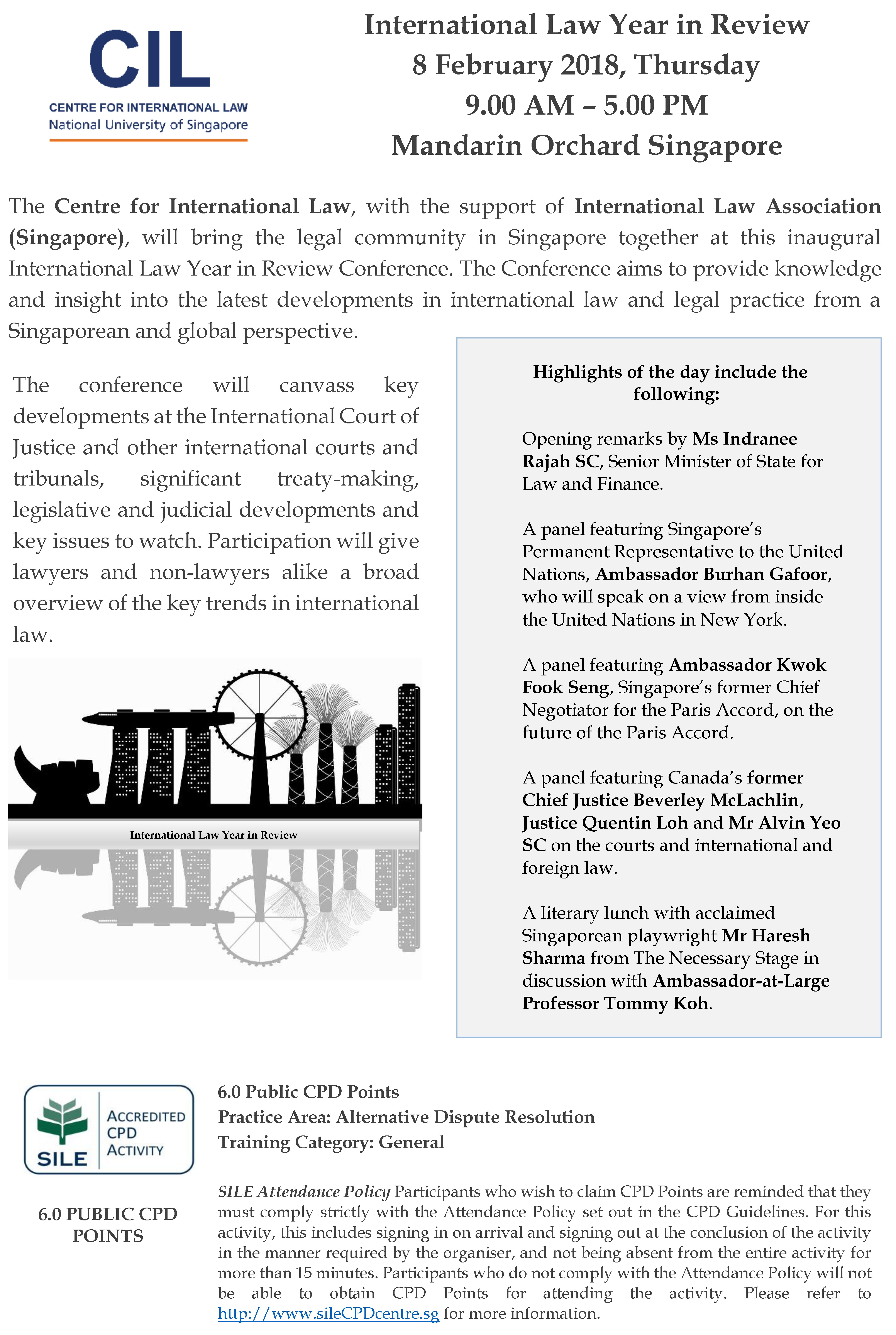 American University Address >> CIL International Law Year in Review Conference 2018 - Centre for International Law