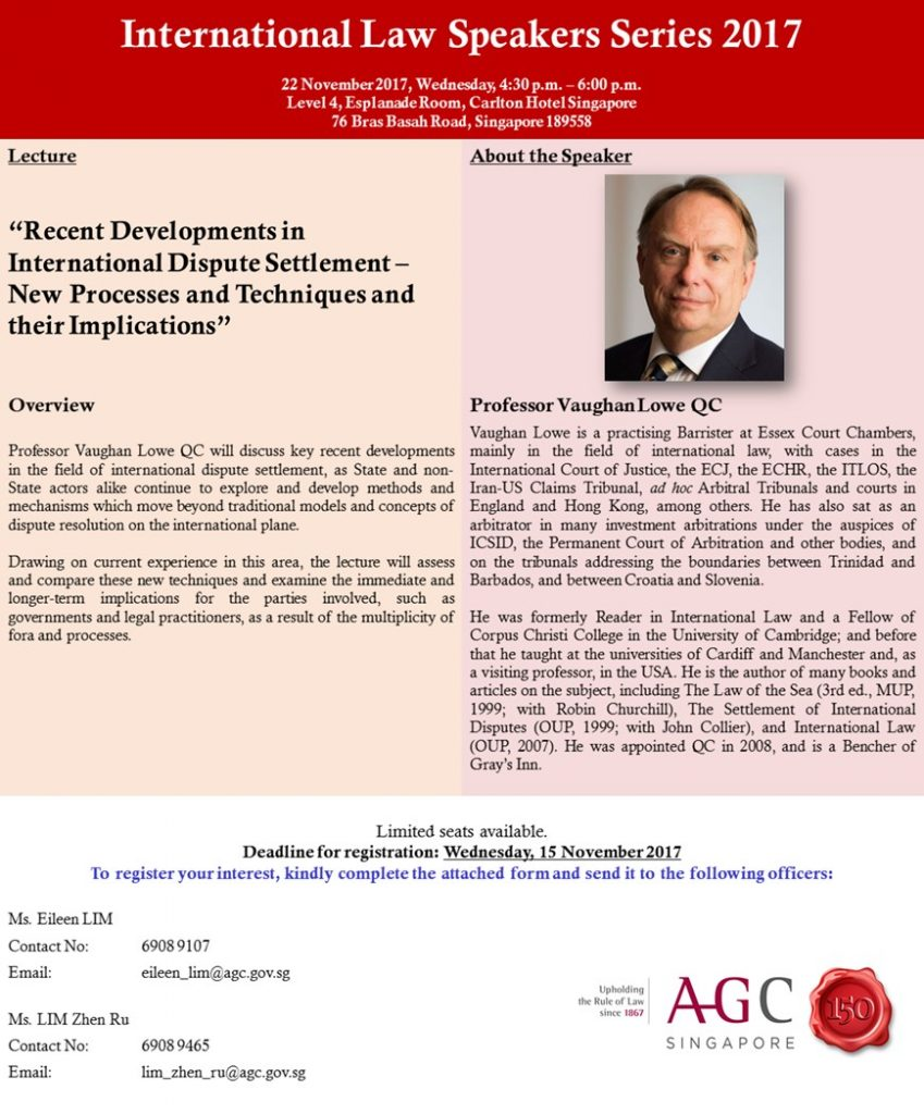 eaf7772fb8724a CIL Supported Event  Professor Vaughan Lowe QC - AGC International ...